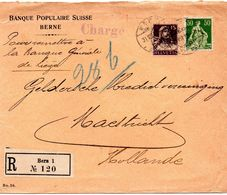 """Lettre Recommandée Et Chargée De Berne (Suisse) Vers Maastricht - """"Pour Remettre à La Banque Générale De Liège"""" - Autres Lettres"""