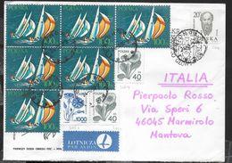 POLONIA - BUSTA PLURIAFFRANCATA DA LEGIONOWO 21.8.1989 PER L'ITALIA - 1944-.... Republic