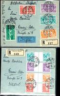 5 C. Bis 20 C. Als Waagerechte Kehrdruckpaare Bzw. Zwischenstegpaare, Je Als Satzfrankatur Auf Luftpostbriefen, Tadellos - Se-Tenant