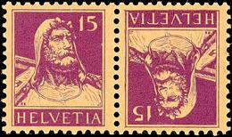 15+15 Rp. Tellbrustbild 1918, Kehrdruckpaar, Postfrisch, Mi. 220.-, Katalog: K 12 ** - Se-Tenant