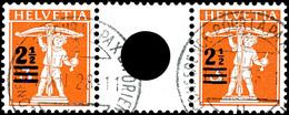 2 1/2 A. 5 C. Tellknabe Im Zwischenstegpaar, Sauber Rundgestempelt, Mi. 180.-, Katalog: WZ12A O - Se-Tenant