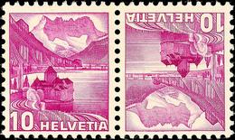 10+10 Rp. Chillon, Kehrdruckpaar Mit Doppelprägung, Postfrisch, Mi. 260.-, Katalog: K 33zIDPII ** - Se-Tenant