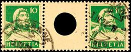 10+Z+10 Rp., Tellbrustbild 1921, Zwischenstegpaar Mit Großer Lochung Des Zwischensteges, Gestempelt LAUSANNE 3.IV.25, Fo - Se-Tenant