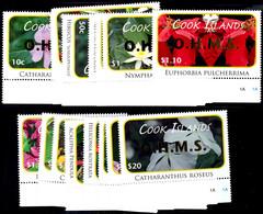 """2010, Dienstmarken, Kompletter Satz """"Blumen"""" Zu 18 Werten Mit Aufdruck O.H.M.S., Tadellos Postfrisch, Mi. 100.-, Katalog - Cook Islands"""