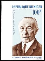 100 Fr. Zum Tode Von Konrad Adenauer 1967, Linkes Bogenrandstück Ungezähnt Statt Gezähnt, Tadellos Postfrisch, Katalog:  - Niger (1960-...)