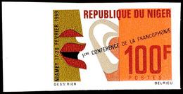 100 Fr. 1. Konferenz Der Frankophonie 1969, Linkes Randstück Breitrandig Ungezähnt Statt Gezähnt, Tadellos Postfrisch, K - Niger (1960-...)
