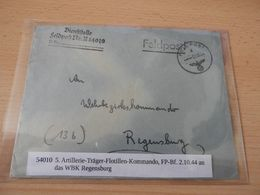 Feldpostbrief 5 Artillerie-Träger-Flotillen-Kommando 1944 - Documenti