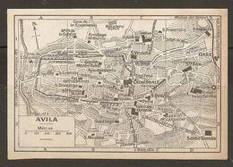 CARTE PLAN MAPA MAP 1935 AVILA - ESPAGNE ESPANA SPAIN - Topographische Karten