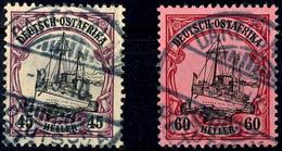 45 H. Und 60 H. Mit Wasserzeichen Je Tadellos Gestempelt Und Tiefst Gepr. R. Steuer VÖB, Mi. 310.-, Katalog: 36+37 O - Colony: German East Africa
