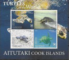 AITUTAKI, COOK ISLANDS, 2020, MNH, REPTILES, TURTLES,  SHEETLET OF 4v - Tortues
