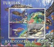 RARATONGA, COOK ISLANDS, 2020, MNH, REPTILES, TURTLES, CORALS, SHEETLET OF 4v - Tortues