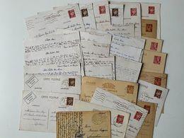 Correspondance Pendant Guerre 39/45 Sur 28 Cartes Postales Entiers Postaux Dont Pétain Majorité écrite 1942 Par Militair - War 1939-45