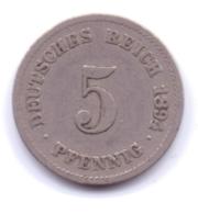 DEUTSCHES REICH 1894 G: 5 Pfennig, KM 11 - [ 2] 1871-1918 : Imperio Alemán