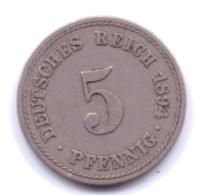DEUTSCHES REICH 1894 A: 5 Pfennig, KM 11 - [ 2] 1871-1918 : Imperio Alemán