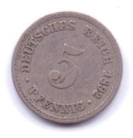 DEUTSCHES REICH 1892 A: 5 Pfennig, KM 11 - [ 2] 1871-1918 : Imperio Alemán