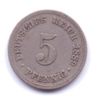 DEUTSCHES REICH 1889 A: 5 Pfennig, KM 11 - [ 2] 1871-1918 : Imperio Alemán