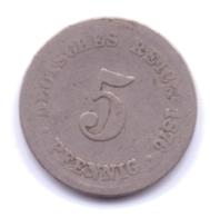 DEUTSCHES REICH 1876 C: 5 Pfennig, KM 3 - [ 2] 1871-1918 : Imperio Alemán