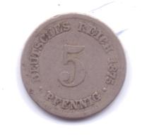 DEUTSCHES REICH 1875 B: 5 Pfennig, KM 3 - [ 2] 1871-1918 : Imperio Alemán