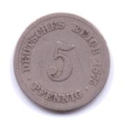 DEUTSCHES REICH 1875 A: 5 Pfennig, KM 3 - [ 2] 1871-1918 : Imperio Alemán