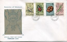 Malawi Mi# 123-6 Used On FDC - Fauna Insects - Malawi (1964-...)
