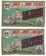 Lot De 2 étiquettes De PATE De BRIE Jamais Collées  (recto-verso En L'état) - Fromage