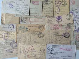 Guerre 14/18 / 17 CP Avec Cachets De Prisonniers De Guerre En Allemagne - Guerre 1914-18