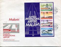 Malawi Mi# Block 62 Used On FDC - Aviation Airport Airplanes - Malawi (1964-...)