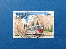 1991 ANTIGUA BARBUDA FRANCOBOLLO USATO STAMP USED FERROVIA TRENO LOCOMOTORE 40 C - Antigua And Barbuda (1981-...)