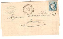 REF1430/ TP 60C S/LAC F.Gros Assurances Martimes C.convoyeur Tonnay-Charentes 28/11/75 + PTS LRP > Jarnac C.d'arrivée - 1849-1876: Classic Period