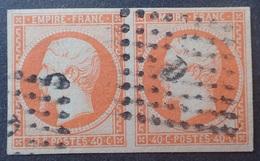 "R1286/74 - NAPOLEON III (PAIRE) N°16a Orange Vif - Bureau "" D "" De PARIS - 1853-1860 Napoléon III"