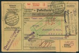 """1923, INFLATION: Paketkarte Mit """"""""Freigebühr S- Einnahmenachweis Hohenstein-Ertnstthal"""" 2.2.23 - Lettres"""