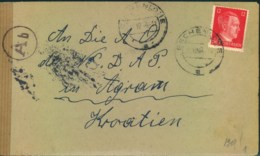"""1944, Brief Aus ESCHENLOHE An """"N.S.D.A.P. A.O"""" (Auslandsorganisation In Agram (Zagreb), Kroatien - Germany"""