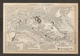CARTE PLAN MAPA MAP 1935 L'ALHAMBRA Et Le GENERALIFE - ALHAMBRA Y GENERALIFE - ESPAGNE ESPANA SPAIN - Topographische Karten