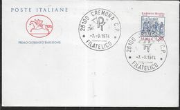"""ITALIA - F.D.C. - 1974 - LUDOVICO ARIOSTO - ANNULLO"""" CREMONA C.P.*7.9.1974*FILATELICO"""" SU BUSTA FDC CAVALLINO - 6. 1946-.. Repubblica"""