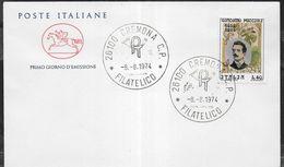 """ITALIA - F.D.C. - 1974 - GIACOMO PUCCINI - ANNULLO"""" CREMONA C.P.*8.8.1974*FILATELICO"""" SU BUSTA FDC CAVALLINO - 6. 1946-.. Repubblica"""
