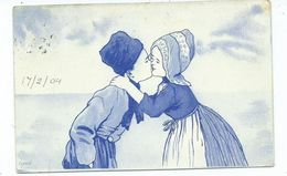 Children Kissing Dutch Style Postcard Birmingham Numbered Squared Circle 63 ? Posted 1904 - Tarjetas Humorísticas