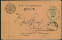 """1901, Karte Der """"KGL. PREUSS. EISENB. VERW. - WORRINGEN"""" (Köln - Briefe U. Dokumente"""