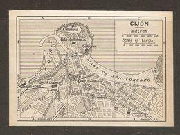 CARTE PLAN MAPA MAP 1935 GIJON - ESPAGNE ESPANA SPAIN - Topographische Karten