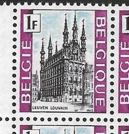 1480-V1 En Bloc De 4 Timbres Coin De Feuille - P2 T81 Et T91 Pas De Girouette Sur La Tour (Alb. Noir N° 25) - Variétés Et Curiosités