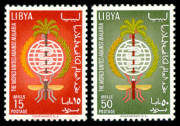 Libya, 1962, Fight Against Malaria, WHO, United Nations, MNH, Michel 118-119A - Libye