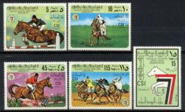 Libya, 1977, Horse Riding Tournament, Equestrian, MNH, Michel 605-609 - Libye