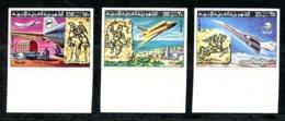 Libya, 1977, UPU Centenary, Space Shuttle, Concorde, United Nations, MNH Imperforated, Michel 584-586B - Libya