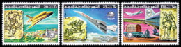 Libya, 1977, UPU Centenary, Space Shuttle, Concorde, United Nations, MNH Perforated, Michel 584-586A - Libye