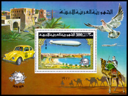 Libya, 1977, UPU Centenary, Zeppelin, United Nations, MNH, Michel Block 25A - Libye