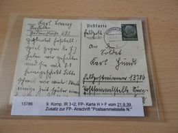 Feldpostkarte  9.Kop.IR 342 Von 1939 - Documenti