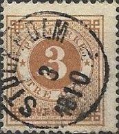 SWEDEN 1872 Numeral - 3ore - Brown FU - Oblitérés