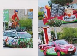 Lot De 3 Photographies Caravannes  Publicitaires Tour De France - Ciclismo