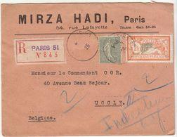 ESC Recommandée / Belgique 2F50 O. Paris 51 1926 - Marcophilie (Lettres)