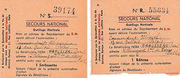 WW2 SECOURS NATIONAL - OUTILLAGE HORTICOLE - 2 Bons Serfouette & Râteau Pour Raoul HAHUSSEAU De Villemuzard - Documents Historiques