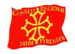 Autocollant Conseil Régional Midi Pyrénées - Format : 8.5x6cm - Adesivi